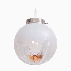 Lámpara colgante con esferas de vidrio esmerilado a transparente con inclusiones en ámbar, Italia, años 70