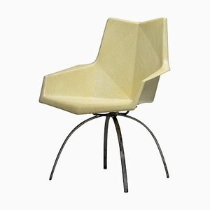 Yellow Origami Armchair on Spider Base by Paul McCobb