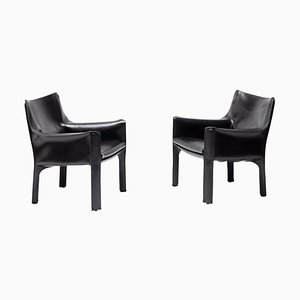Cassina Cab 414 Lounge Chairs by Mario Bellini, Set of 2
