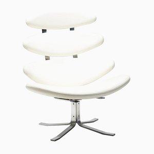 Silla EJ5 Corona de cuero blanco de Poul Volther
