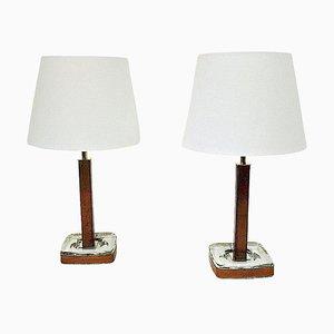 Lampade da tavolo in pelle di Uppsala Armatur, Svezia, anni '60, set di 2