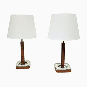 Swedish Leather Table Lamps by Uppsala Armatur, 1960s, Set of 2