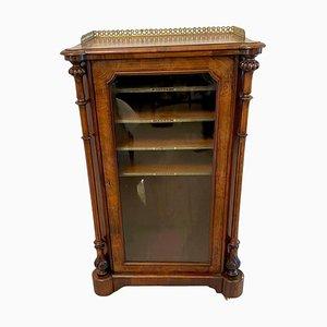 Mueble de música victoriano antiguo de madera nudosa de nogal