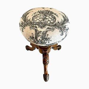 Taburete de piano giratorio victoriano antiguo de nogal tallado