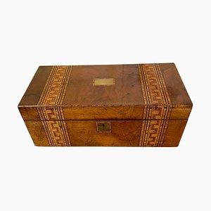 Caja de escritura victoriana antigua grande de madera nudosa de nogal