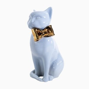 Ceramic Sculpture of Cat with Bow, 1970s