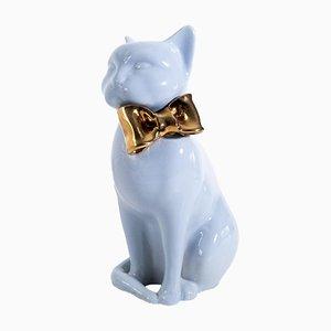 Escultura de gato con lazo de cerámica, años 70