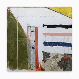 Tim Fawcett, Don't Just Sit There in Silence, 2020, cinta de tela y papel sobre lienzo