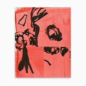 Stephen Maine, Frankly Scarlet 3, 2021, Encre et Acrylique sur Papier avec Collage