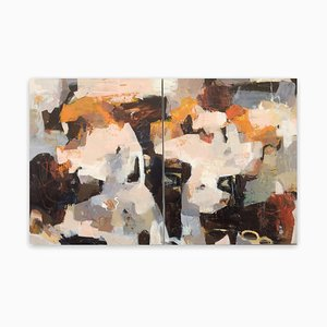 Linda Coppens, Poetry of Life, Diptych 2, 2020, Acrylic on Canvas, Graphite & Crayon