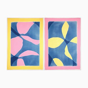 Kind of Cyan, CMYK, Abstract Diptych of Smooth Curves in Pink, Yellow, and Blue, 2020, Mixed Media