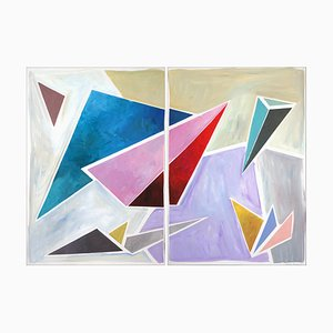 Natalia Roman, Retro Futuristic Angle Ensemble, 2021, Oil Pastel, Oil, Acrylic,Watercolor & Gouache