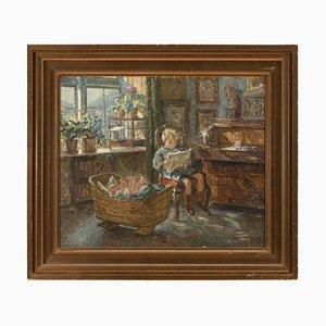 Sigurd Wandel, Escena interior con hermanos pequeños, años 10, óleo sobre lienzo
