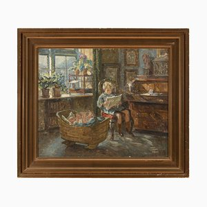 Sigurd Wandel, Interior Scene with Young Siblings, 1910s, Oil on Canvas