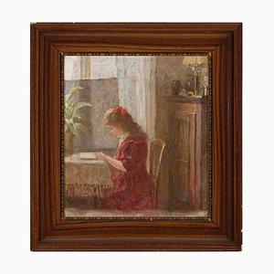 Escena interior con niña leyendo, años 10, óleo sobre lienzo