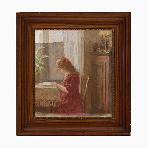 Interior Scene with Girl Reading, 1910s, Oil on Canvas