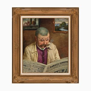 Béla Adalbert Hradil, Portrait of a Man Reading the Newspaper, 1944, Oil on Canvas