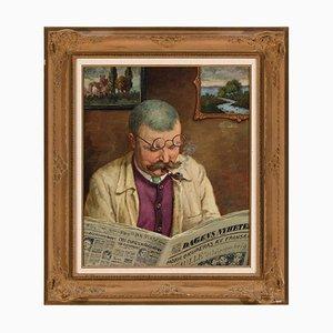 Béla Adalbert Hradil, Retrato de un hombre que lee el periódico, 1944, óleo sobre lienzo
