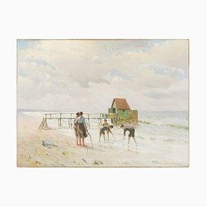 Mark Osman Curtis, Escena costera con familia, años 20, óleo sobre lienzo