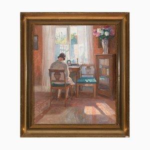 Robert Panitzsch, Interior iluminado con mujer sentada, años 30, óleo sobre lienzo