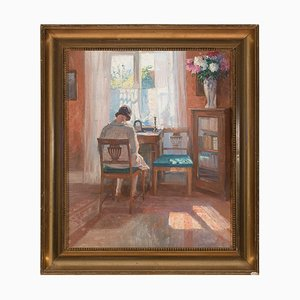 Robert Panitzsch, Sunlit Interior with Seated Woman, 1930s, Oil on Canvas