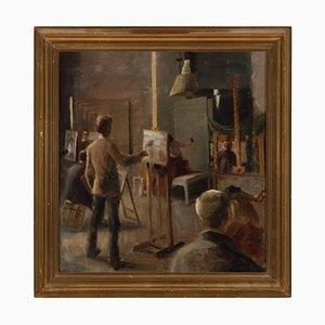 Dänische Schule, 20. Jh., Interieur der Kunstakademie, 1920er, Öl an Bord