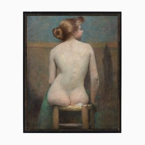 Early 20th-Century Danish School, Seated Female Nude, 1910s, Oil on Canvas