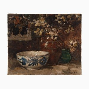 Alfred Van Neste, Still Life with Vase & Bowl, 1933, Oil on Canvas