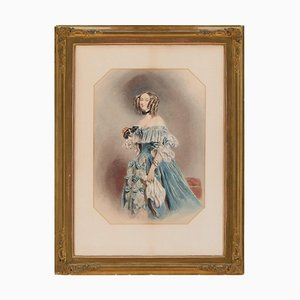 Mid-19th-Century Portrait of Amelia Jenkins, 1850s, Watercolor on Paper, Framed