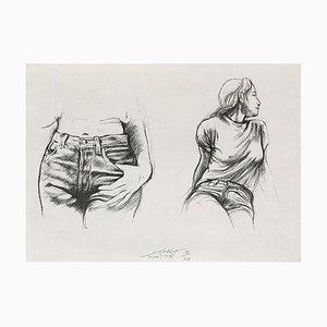 Ernest Pignon-Ernest, Autres jeunes filles II, 1998, Litografía sobre papel BFK Rives