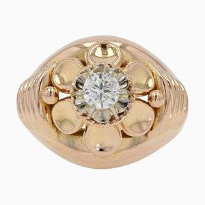 Französischer Retro Diamant und 18 Karat Roségold Ring, 1950er