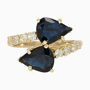 Bague You and Me Moderne en Saphir Taille Poire, Diamants et Or Jaune 18 Carat