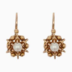 Boucles d'Oreilles en Or Rose 18 Carats et Perles, France, 20ème Siècle