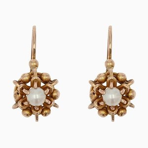 French Pearl and 18 Karat Rose Gold Lever Back Earrings, 20th Century