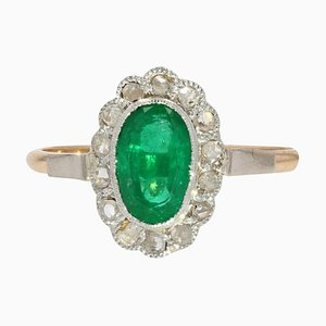 19th Century Emerald and Diamonds Cluster Ring in 18 Karat Rose and White Gold