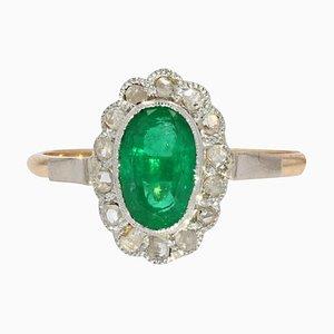 Smaragd und Diamanten Cluster-Ring aus 18 Karat Rosé- und Weißgold, 19. Jh