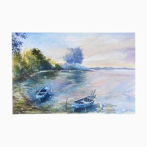 Fabien Renault, Les barques, 2021, Watercolor on Paper
