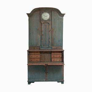 19th Century Swedish Pine Rococo and Gustavian Clock Cabinet