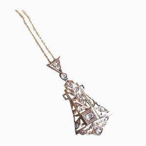 Collar Art Déco de oro de 14 quilates con diamantes tallados en roseta, años 30