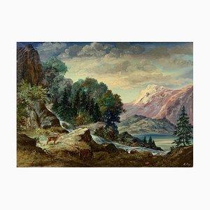 Erich Aey, Paysage montagneux, 1910, Öl auf Leinwand