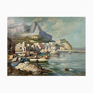 Ezelino Briante, Village Au Bord De Mer, 1945, óleo sobre lienzo
