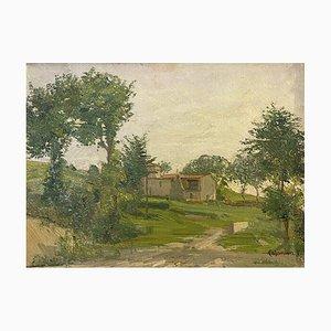 Carlo Casanova, Granero en Toscana, años 20, Oleo sobre madera