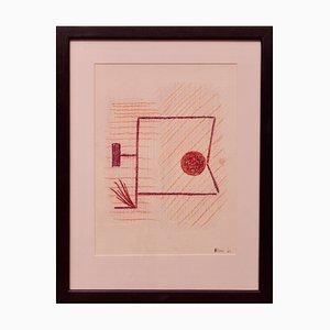 Rem Raymond Coninckx, Mid-Century Abstract Zeichnung, Belgien, 1963, Mischtechnik