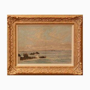 William Henry Innes, Seascape St Ives, años 60, papel y pastel al óleo, enmarcado