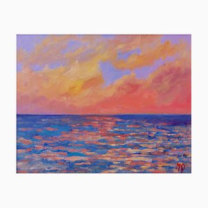 Michael Quirke, Sunset from Porthmeor Beach, St Ives, 1990s, Acrylic on Canvas, Framed