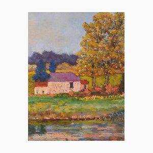 Michael Quirke, Country Landscape, 1980, Oil Pastel on Canvas, Enmarcado