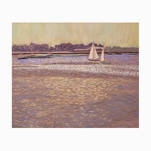 William Innes, Light on the Water, 1950, Paper & Oil Pastel, Enmarcado