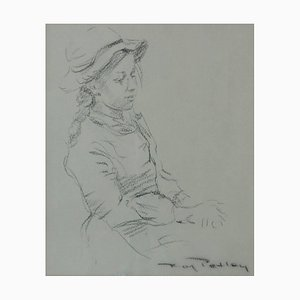 Roy Petley, Girl in a Hat, 1980, Paper, Charcoal & Mixed Media, Framed