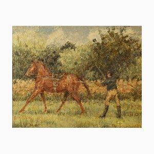 Mitte des 20. Jahrhunderts, Impressionist Ölpferd & Jockey, Kay Hinwood, 1940