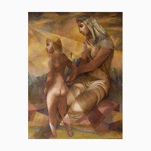 Nisbet, Abstrakte Mutter und Kind, Öl auf Leinwand, Gerahmt